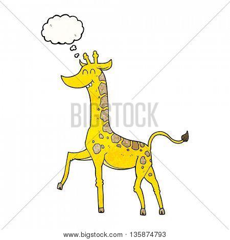 freehand drawn thought bubble textured cartoon giraffe