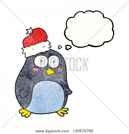 freehand drawn thought bubble textured cartoon penguin