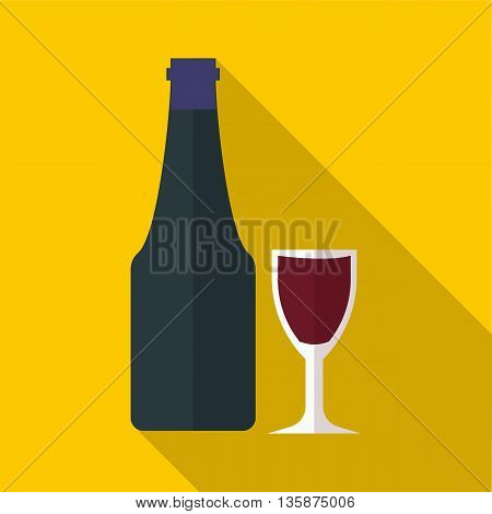 Wine and glass icon in flat style with long shadow. Wine tasting symbol