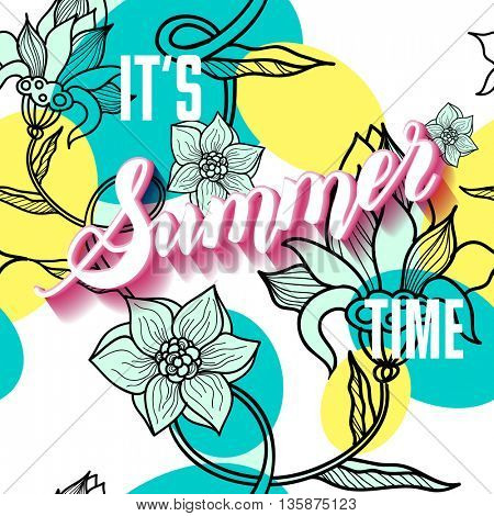 It is summer time lettering background. Sum
