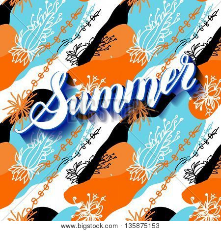 It is summer time abstract lettering background.