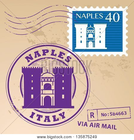 Grunge rubber stamp set with words Naples, Italy inside, vector illustration