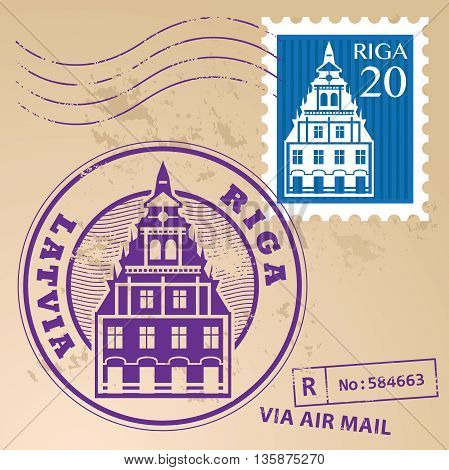 Grunge rubber stamp set with words Riga, Latvia inside, vector illustration