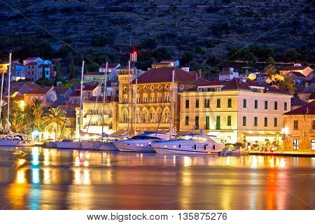 Yachting destination of Vis island evening view Dalmatia Croatia