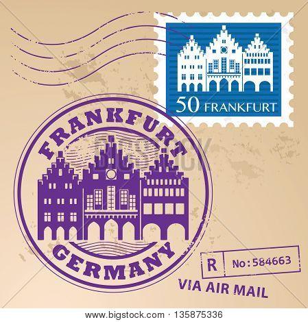 Grunge rubber stamp set with words Frankfurt, Germany inside, vector illustration