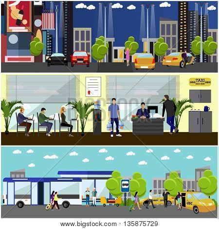 Vector set of taxi service company concept banners. People catch taxi on a street. Taxi call center.
