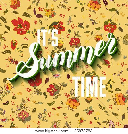 It is summer time boho lettering background.