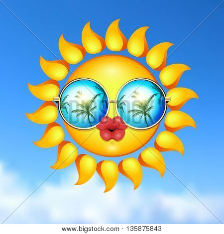 Summer Sun Face with sunglasses and full lips.
