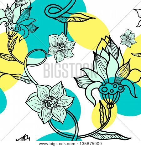 Decorative creative floral boho seamless pattern