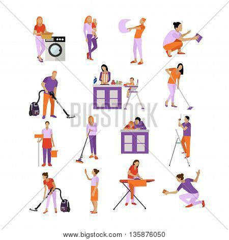 Vector set of cleaning service workers. People cleaning house, isolated on white background. Housekeeping company team at work.