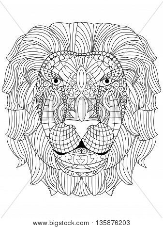 Lion head coloring book for adults vector illustration. Anti-stress coloring for adult. Zentangle style tiger. Black and white lines. Lace pattern