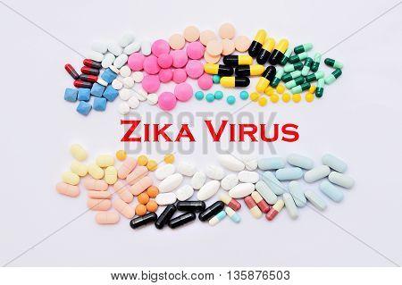 Drugs for Zika virus treatment, medical concept
