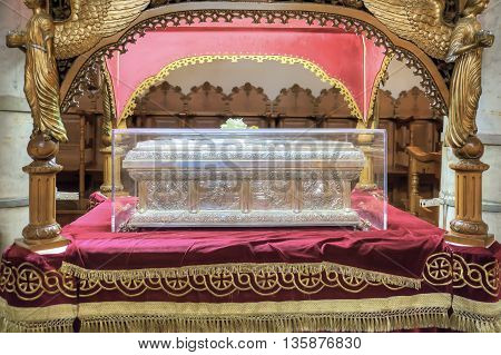 THESSALONIKI GREECE - March 14.2016: The reliquary of the Christian saint of Anysia of Salonikain the temple of great martyr Saint Demetrius