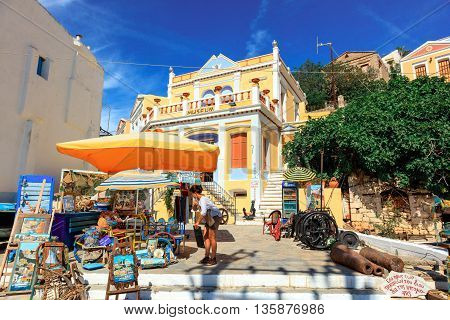 SYMI ISLAND, GREECE - JUNE 11: The Nautical Museum on the island of Symi in Agean Sea on June 11, 2016.