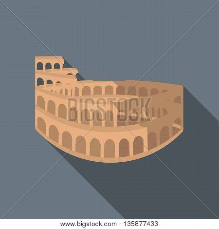 Colosseum in Rome icon in flat style with long shadow. Landmark symbol
