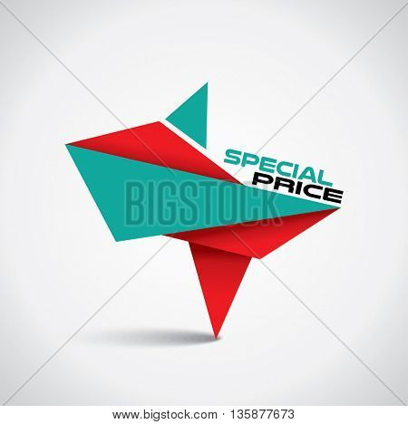 Origami style special price bubble with red and green colors