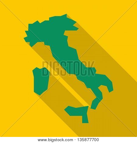 Map of Italy icon in flat style with long shadow. State territory symbol