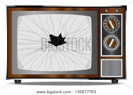 An old wood surround television receiver with a broken screen over a white background