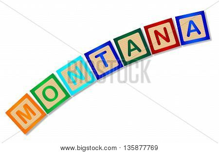 A collection of wooden block letters spelling Montana over a white background
