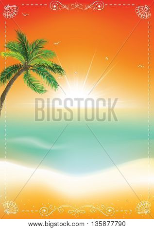 Sunset seaside background with palm tree. Print colors used. Format A4