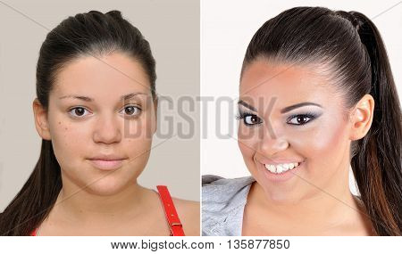 Teenage girl before and after applying make-up, hairstyling and teeth whitening