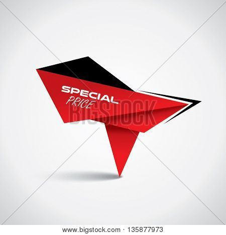 Origami style special price bubble