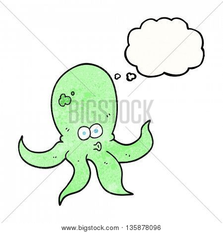 freehand drawn thought bubble textured cartoon octopus