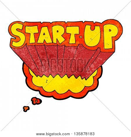 freehand drawn thought bubble textured cartoon startup symbol