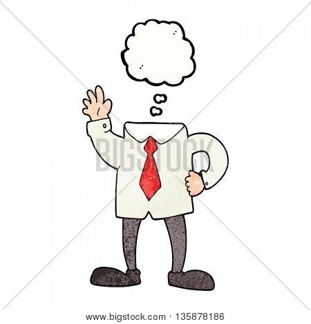 freehand drawn thought bubble textured cartoon headless businessman