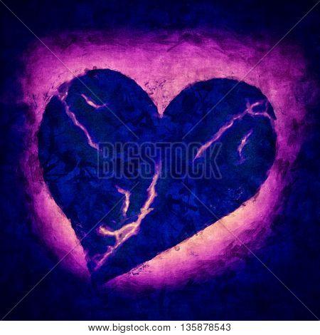 Dark Illustration of a sad dying heart
