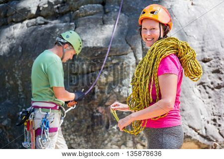 senior couple doing sport in a forest