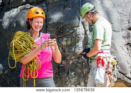 senior couple concentrating their activity in a forest