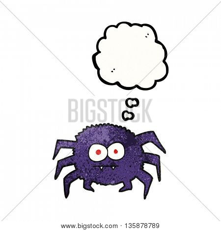 freehand drawn thought bubble textured cartoon spider