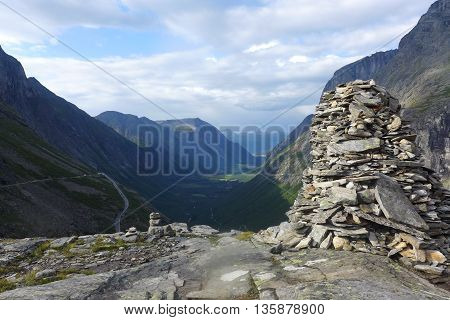 Stack Of Rocks Stones on mountain background