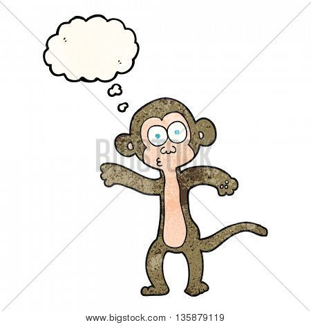 freehand drawn thought bubble textured cartoon monkey