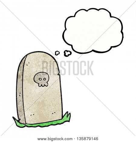 freehand drawn thought bubble textured cartoon grave