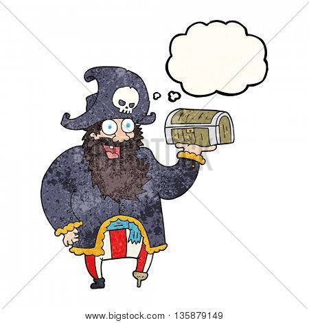 freehand drawn thought bubble textured cartoon pirate captain with treasure chest