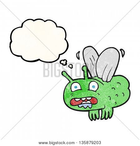 freehand drawn thought bubble textured cartoon fly