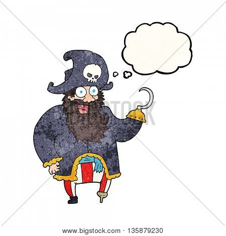 freehand drawn thought bubble textured cartoon pirate captain