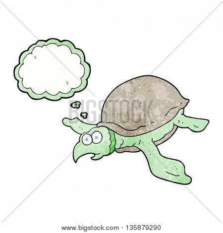freehand drawn thought bubble textured cartoon turtle