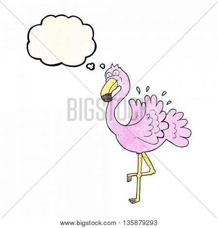 freehand drawn thought bubble textured cartoon flamingo