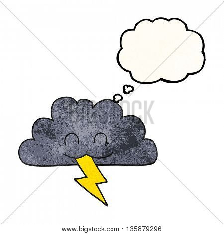 freehand drawn thought bubble textured cartoon storm cloud