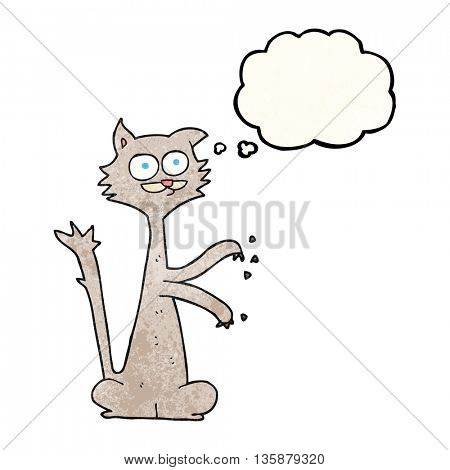 freehand drawn thought bubble textured cartoon cat scratching