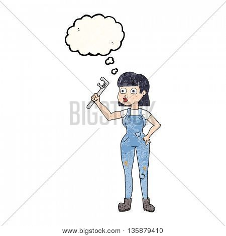 freehand drawn thought bubble textured cartoon female plumber