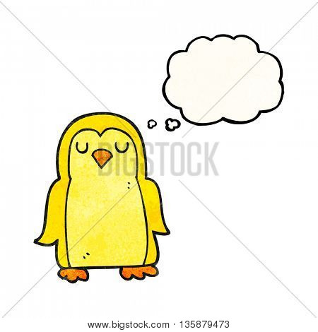 freehand drawn thought bubble textured cartoon bird
