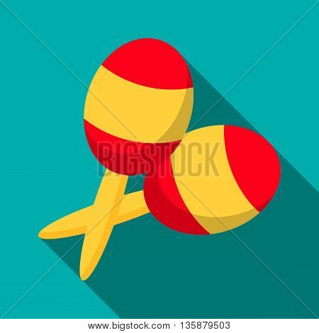 Maracas icon in flat style with long shadow. Musical instrument symbol