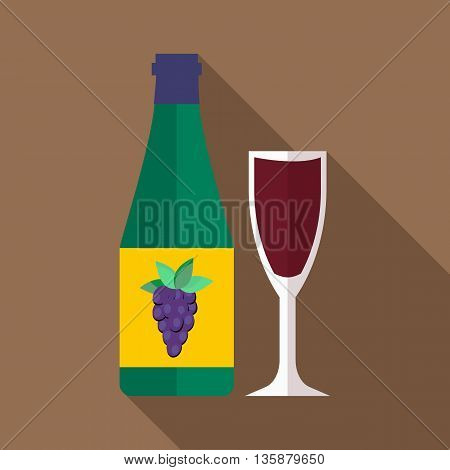Bottle of wine icon in flat style with long shadow. Wine tasting symbol