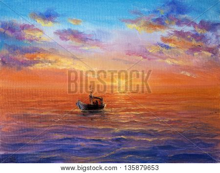 Original abstract oil painting of fishing boat and sea on canvas.Rich Golden Sunset over ocean.Modern Impressionism