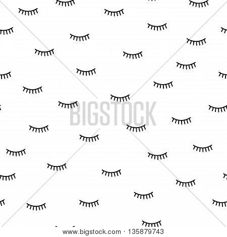 Vector Seamless Background With A Pattern Of Closed Eyes With Eyelashes. Kids Cute Fabric Print