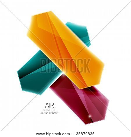 Colorful arrows on white. Blank geometric abstract background. Vector illustration